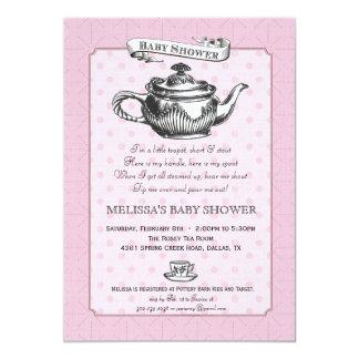 Tea Time Baby Shower Invitation - Pink
