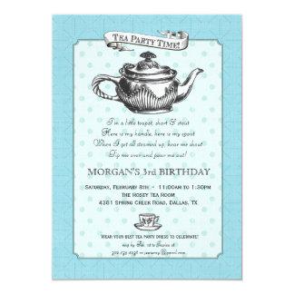 Tea Time Birthday Party Invitation - Aqua Blue