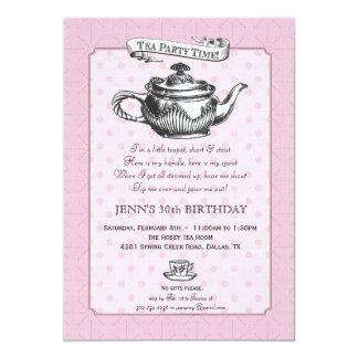 Tea Time Birthday Party Invitation - Pink