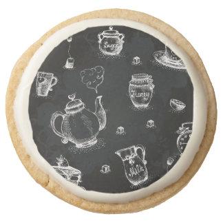 Tea Time Black Round Shortbread Cookie