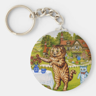 Tea Time Cats Artwork by Louis Wain Basic Round Button Keychain