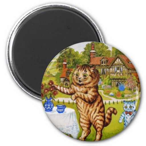 Tea Time Cats Artwork by Louis Wain 2 Inch Round Magnet