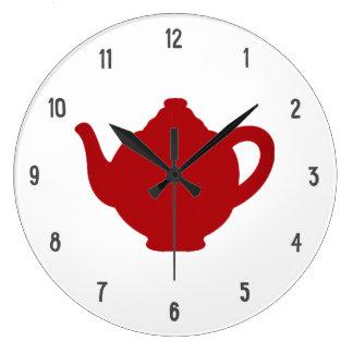 Tea Time Clock, modern red teapot