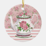 Tea Time Double-Sided Ceramic Round Christmas Ornament