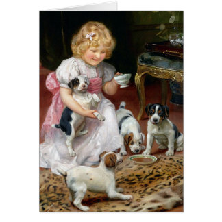 Tea Time for Fox Terrier Puppies Vintage Dog Art Greeting Card