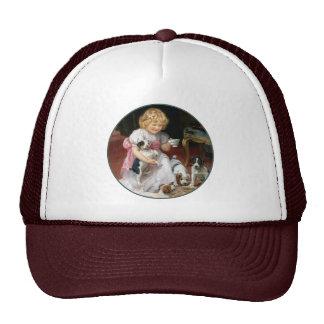 Tea Time for Fox Terrier Puppies Vintage Dog Art Trucker Hats
