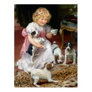 Tea Time for Fox Terrier Puppies Vintage Dog Art Postcard