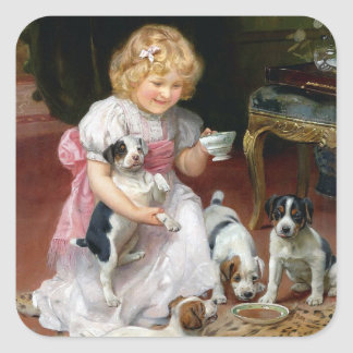 Tea Time for Fox Terrier Puppies Vintage Dog Art Square Stickers