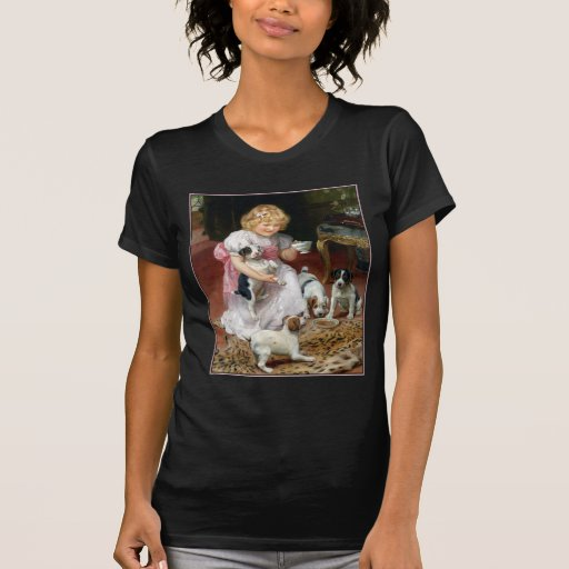 Tea Time for Fox Terrier Puppies Vintage Dog Art T-Shirt