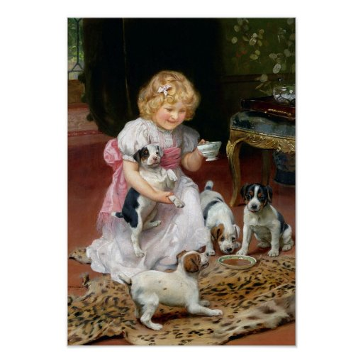 Tea Time for Fox Terrier Puppies Vintage Dog Print