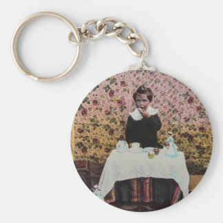 Tea Time for One Vintage Victorian Little Boy Basic Round Button Keychain