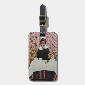 Tea Time for One Vintage Victorian Little Boy Luggage Tag