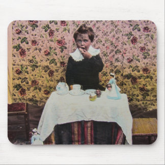 Tea Time for One Vintage Victorian Little Boy Mouse Pad