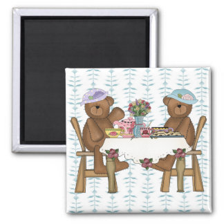 Tea Time for Teddies 2 Inch Square Magnet
