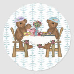 Tea Time for Teddies Round Stickers