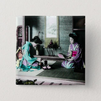 Tea Time for Two in Old Japan Vintage Geisha Button