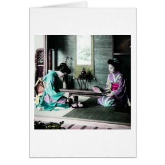 Tea Time for Two in Old Japan Vintage Geisha Card