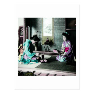 Tea Time for Two in Old Japan Vintage Geisha Postcard