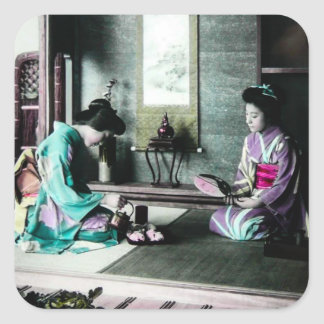 Tea Time for Two in Old Japan Vintage Geisha Square Sticker