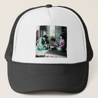 Tea Time for Two in Old Japan Vintage Geisha Trucker Hat