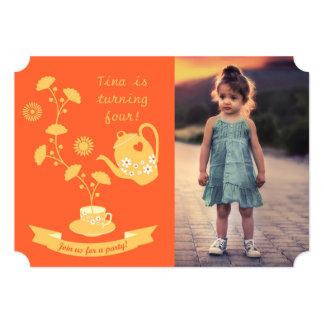 Tea Time Girl Birthday Party  Photo Invitation