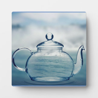 Tea Time Glass Teapot Overlay Plaque