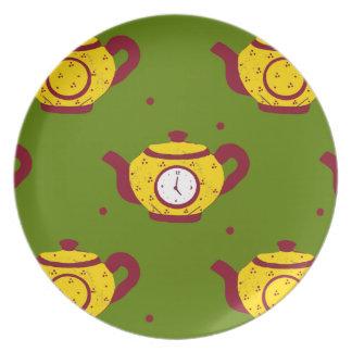 Tea Time! green Dinner Plate