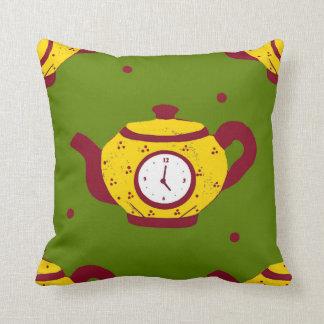 Tea Time! green Throw Pillow
