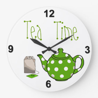 Tea Time Green & White Kitchen Wall Clock