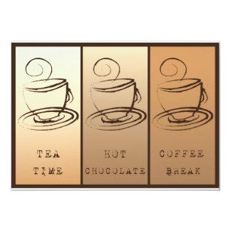 Tea time, Hot Chocolate, Coffee BREAK 5x7 Paper Invitation Card