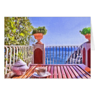 Tea Time In Positano Italy Greeting Card
