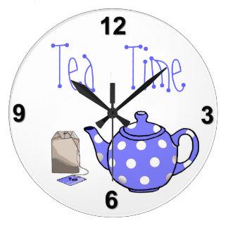 Tea Time Iris Blue & White Kitchen Wallclocks