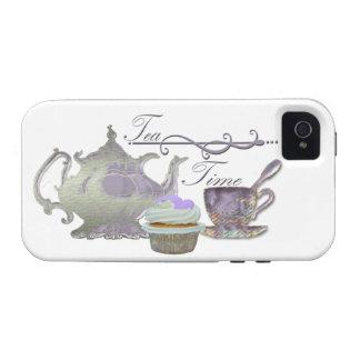 Tea Time! Lilac Teapot, Teacup and Cupcake Art Vibe iPhone 4 Case