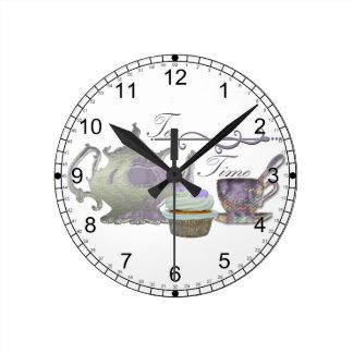 Tea Time! Lilac Teapot, Teacup and Cupcake Art Wallclocks