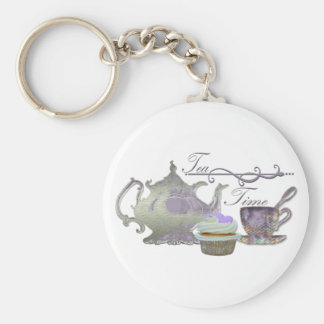 Tea Time! Lilac Teapot, Teacup and Cupcake Art Basic Round Button Keychain