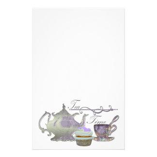 Tea Time! Lilac Teapot, Teacup and Cupcake Art Stationery