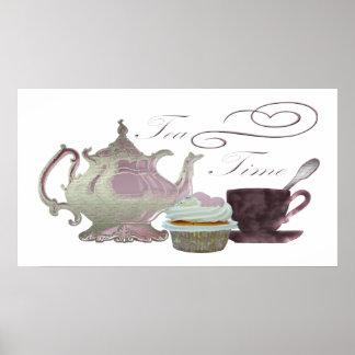 Tea time lilac teapot, teacup and cupcake Poster