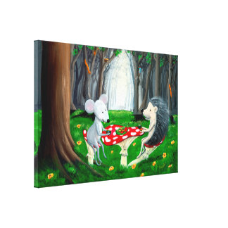 Tea Time | Mouse & Hedgehog | Woodland Nursery Canvas Print