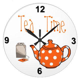 Tea Time Orange & White Kitchen Clocks