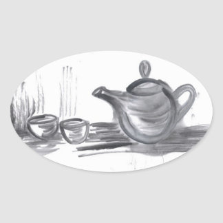 Tea Time Oval Stickers