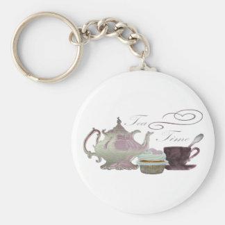 Tea Time Pink Cupcake Hearts Art Keychain