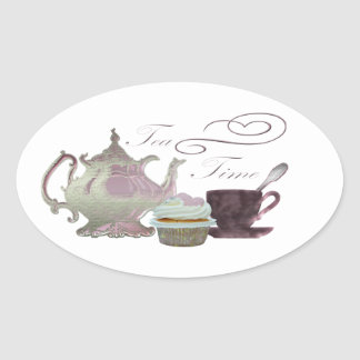 Tea Time Pink Cupcake Hearts Art Oval Sticker