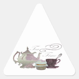 Tea Time Pink Cupcake Hearts Art Triangle Sticker