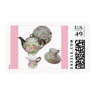 Tea Time Pink Rose Postage stamp