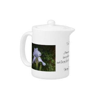 Tea Time QUOTE with Blue Iris Flowers 11 oz.Teapot