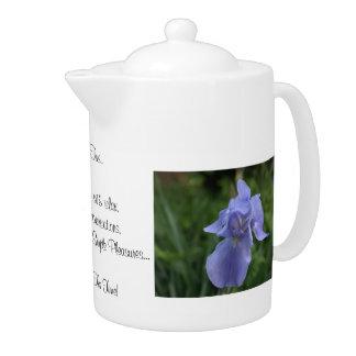 Tea Time QUOTE with Blue Iris Flowers 44 oz.Teapot