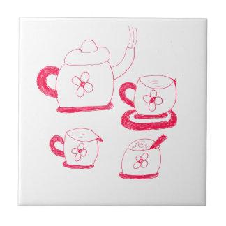 Tea Time Small Square Tile