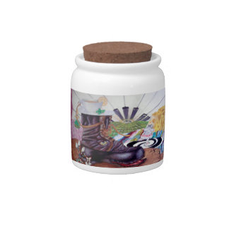 Tea time surrealism painting candy jars