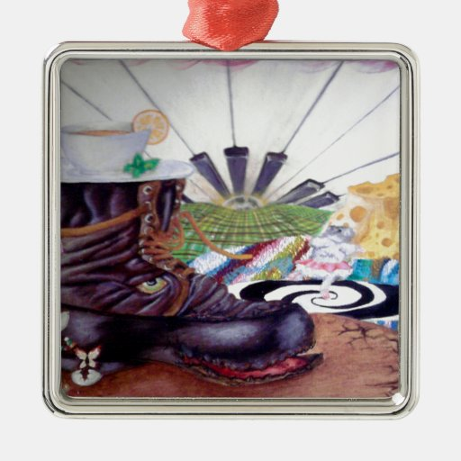Tea time surrealism painting christmas ornaments