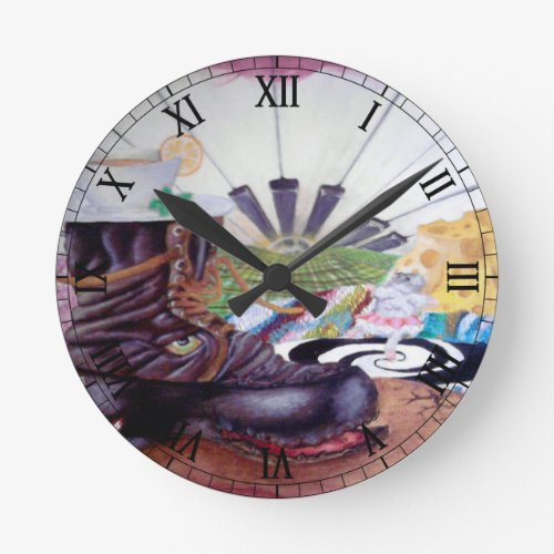Tea time surrealism painting round clock
